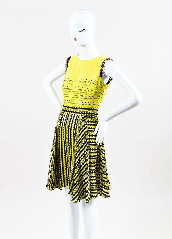Versace Yellow and Black Silk Cut Out Greek Key Beaded Trim Dress