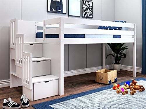 New Jackpot Jp St White Contemporary Low Twin Stairway Loft Bed