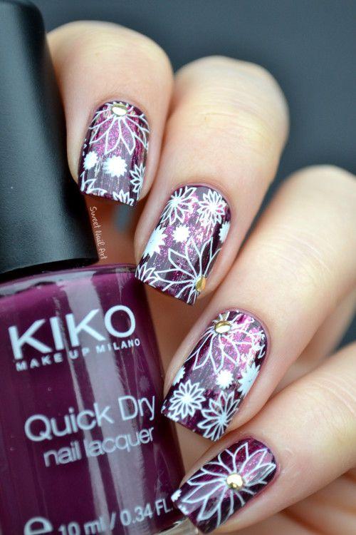 sweet-nail-art #nail #nails #nailart http://sweet-nail-art.over-blog.fr/article-fleurs-prunes-patinees-121823415.html