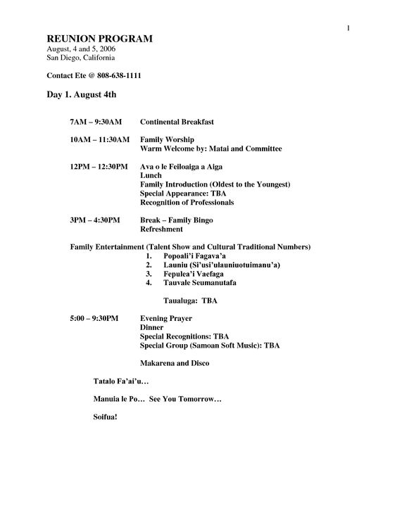 family reunion games Document Sample Nielsen Reunion 2015 - banquet agenda template