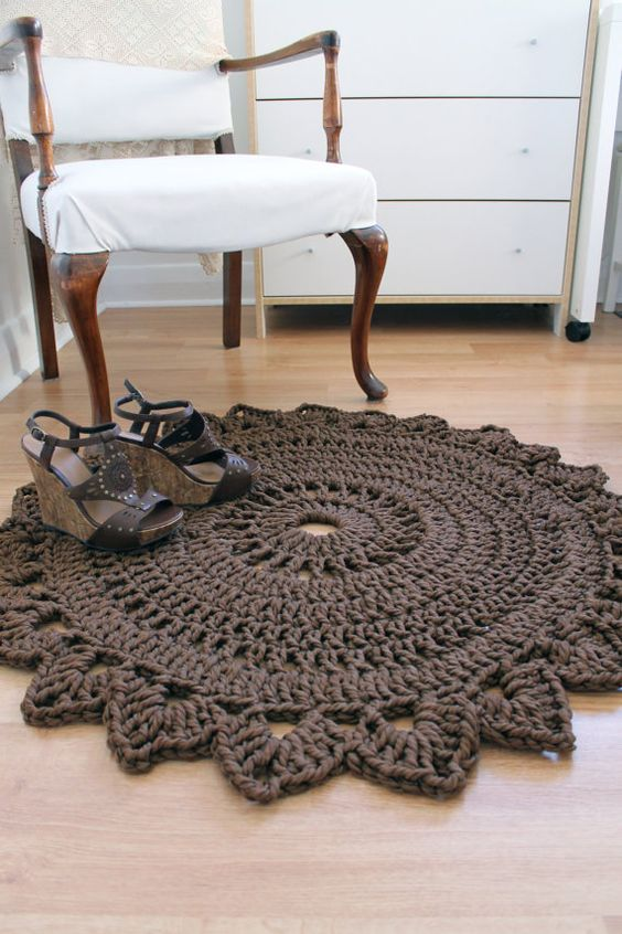 Round bedroom rug handmade crochet nylon chocolate brown home decor via etsy chunky Crochet home decor pinterest