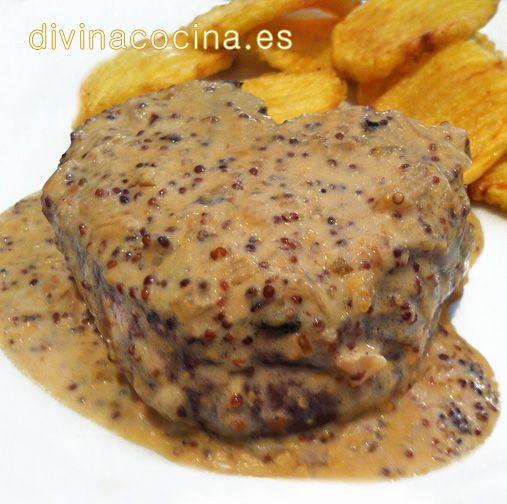 Con esta receta de solomillo a la mostaza puedes preparar también filetes de pechuga de pollo o de lomo de cerdo.