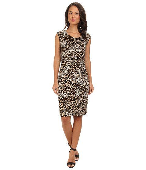 Calvin Klein Calvin Klein  Print Cowl Neck Short Dress Beige Multi Womens Dress for 49.99 at Im in!