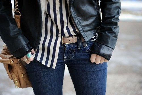 leather. stripes. denim. yes.