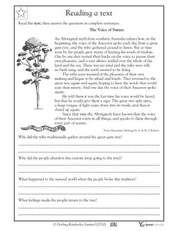 Printables Reading Comprehension 4th Grade Worksheets our 5 favorite prek math worksheets nature homework and 4th in this aboriginal myth the voice of ancestor spoke from a gum tree reading writing worksheet your child gets prac