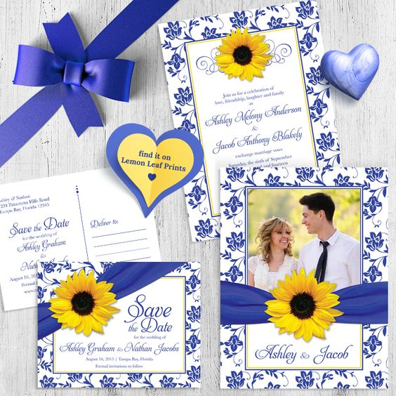 Sunflower royal blue damask floral and ribbon photo wedding invitation and save the date postcard. More matching items available. Shop now: http://lemonleafprints.com/photo-wedding-invitation-sunflower-damask-royal-blue-yellow.html.  #weddings #sunflowerwedding #weddinginvitations