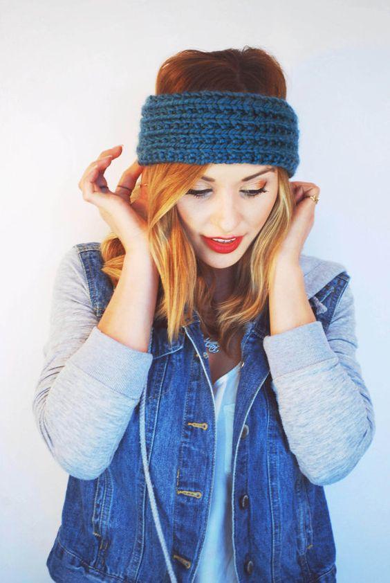 Hand Knit Teal Ribbed Headband