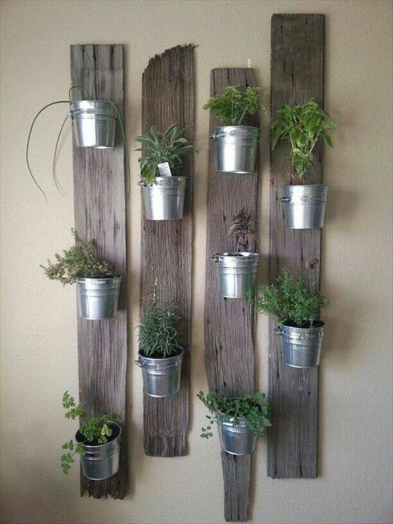 Pallet + Steel Buckets Herb #Garden - 150+ Wonderful Pallet Furniture Ideas | 101 Pallet Ideas - Part 15: