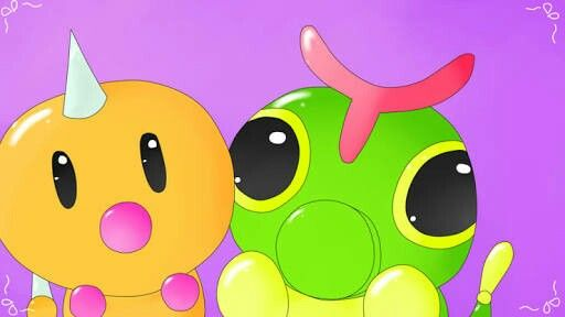 Cute Caterpie and Weedle.