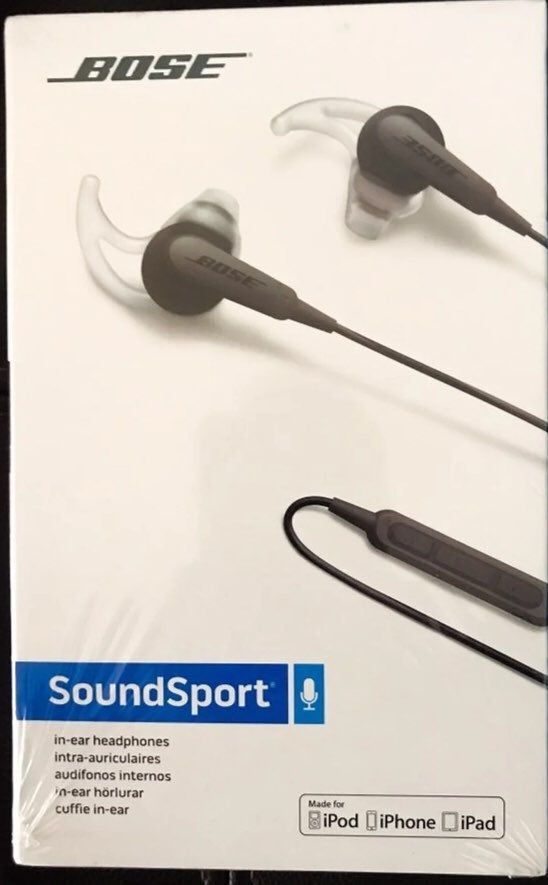 Bose Soundsport Wired Earphones Compatible With Iphone Ipod And Ipad Has Inline Mic Brand New Sealed Pack Never Opened Charco Earphone Bose Bose Earphones