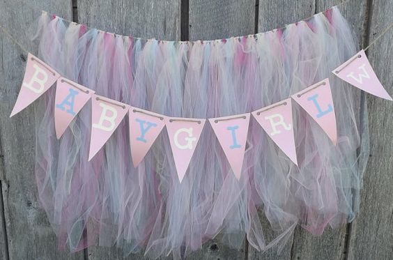Baby Shower Banner with Tutu Garland Wall or by AlteredEcoDesigns