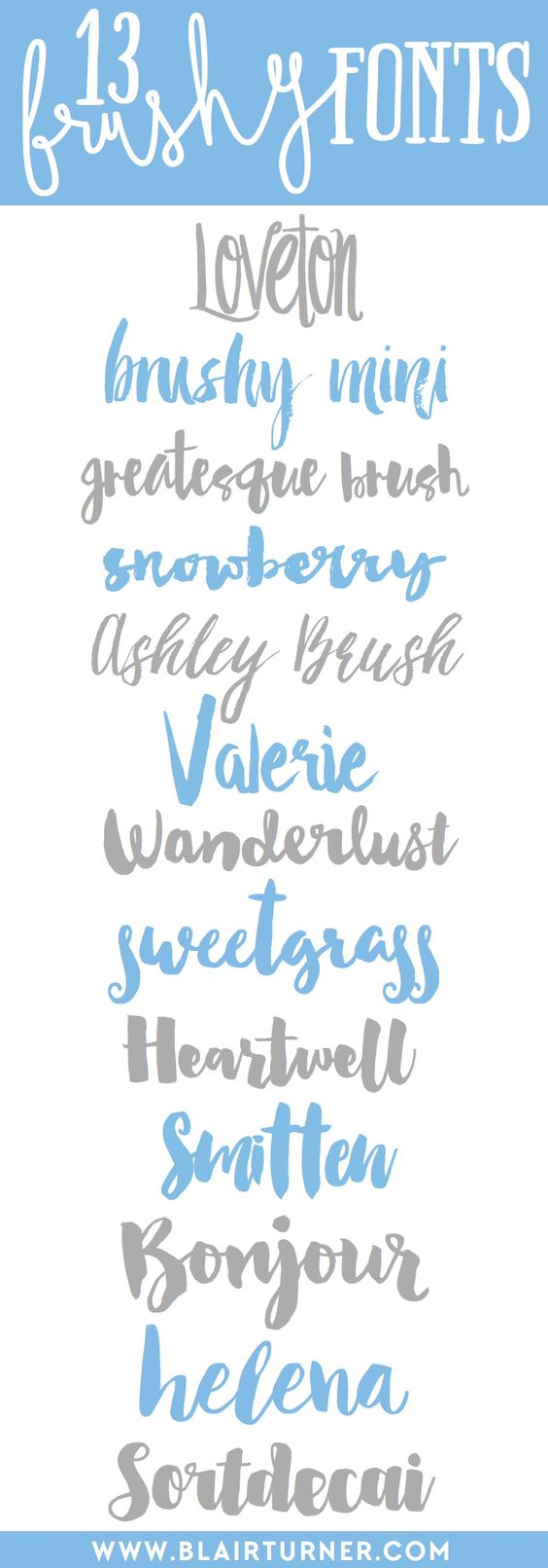 I've designated this as Official Font Hoarder Week here at BlairTurner.com. Instead of an intervention, I'm inviting you to share in my obsession. Two days ago, I posted about my current favorite layered fonts. Yesterday, I shared some great text font families. Today, I'm here with some of my favorite brushy script fonts. Brush fonts are definitely …