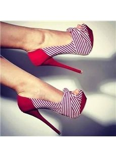 Beautiful Peep Toe Red Stripe Stiletto Heel Platform Pumps Pumps- ericdress.com 10940090