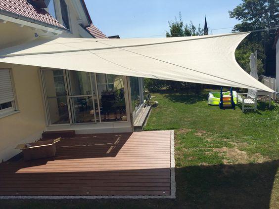 Sonnensegel für Terrasse dreieckige form effekte schaffen - vorteile sonnensegel terrasse
