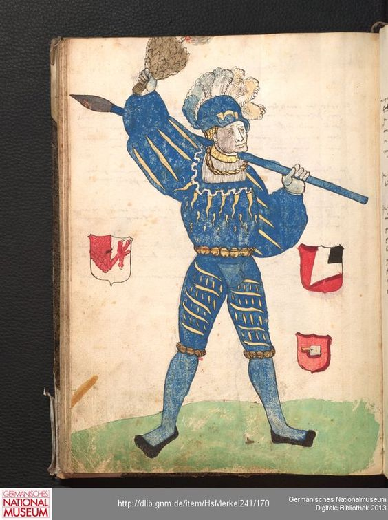 Merkel Hs 2° 241  Schembartbuch [o.O.]: 1551/1600 Illustration: Ulrich Haller, Jeronymuß Peßler und Veyt Schutz (Haubtleut 1516)