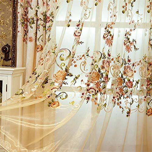 Wpkira European Style Sheer Curtains Living Room Embroidered Sheer