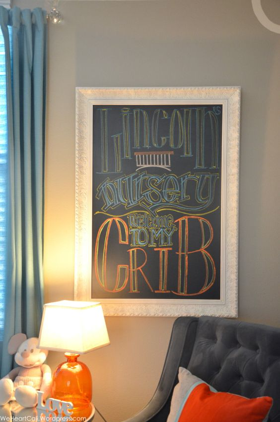 Chalkboard Frame for Nursery - great to use for weekly pregnancy updates and for after baby comes! #nursery