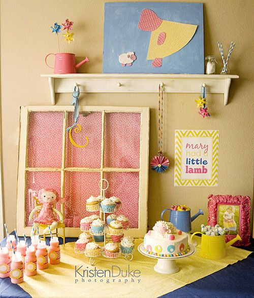 Mary Had a Little Lamb nursery rhyme themed second birthday party in pink blue yellow dessert table