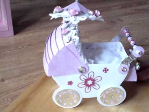 Handmade Card Beautiful 3d Baby Pram Complete With Pillow Quilt Box Cards Handmade Ebay Gift Christening Cards