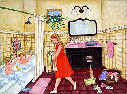 Los niños estubieron jugando Ahora se están bañando Luego la madre los secará