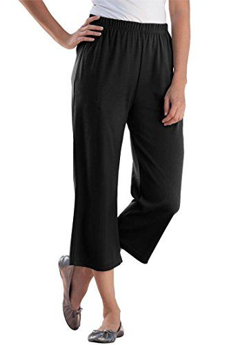 Women's Plus Size Petite 7-Day Knit Capris Black,1X - http://best ...