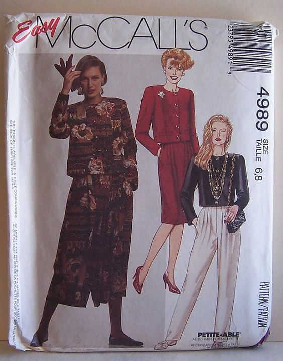 Misses Jacket Skirt Split Skirt and Pants Size 6 8 by filecutter, $2.49