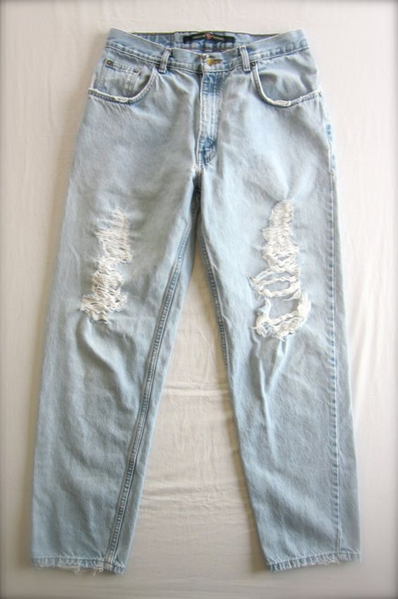 SHREDDED Relaxed Fit Jeans Size 33 X 32 or boyfriend jeans by AuthenticRaJ on Etsy, $30.00