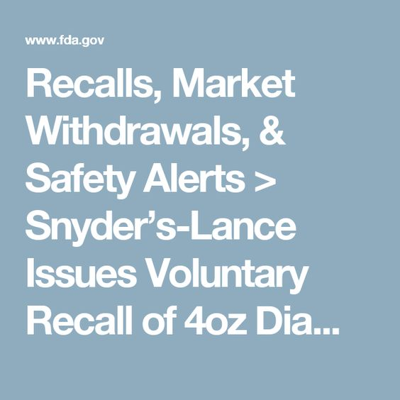 Recalls, Market Withdrawals, & Safety Alerts > Snyder's-Lance Issues Voluntary Recall of 4oz Diamond of California® Chopped Macadamia Nuts and 2.25oz Diamond of California® Macadamia Halves & Pieces Because of Possible Health Risk