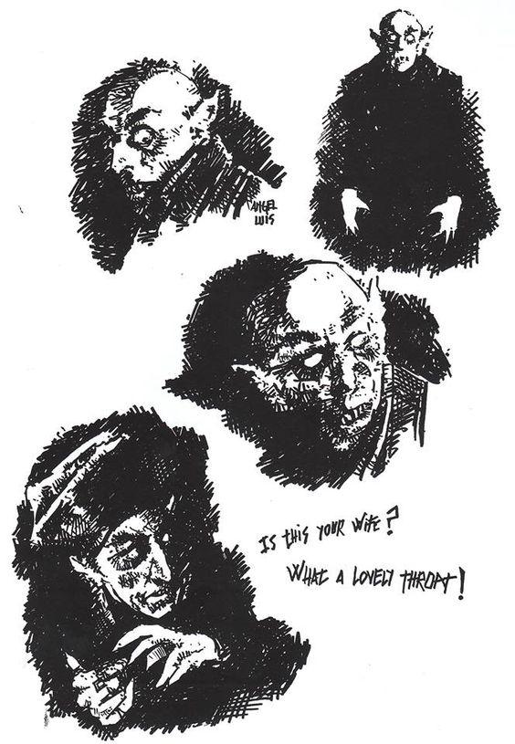 #Dibujo para el reto. #Semana5. Por Ángel Luis Tendero. #Diburremember. #Nosferatu #Murnau