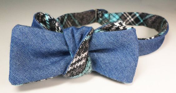 Japanese denim bowtie in a fine twill pale indigo... over brushed cotton…