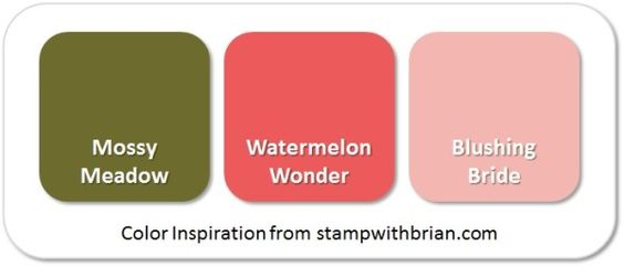 Stampin' Up! Color Inspiration: Mossy Meadow, Watermelon Wonder, Blushing Bride: