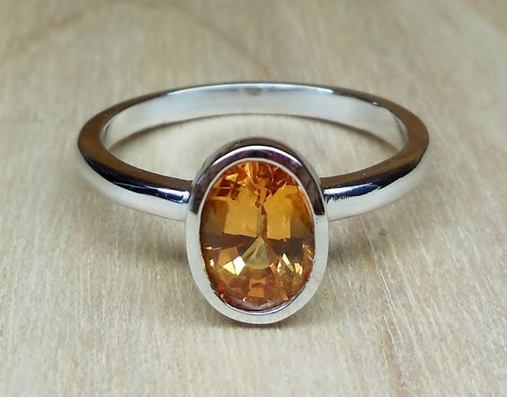 1.30ct Natural Yellow Ceylon Sapphire Bezel Set 14k White Gold Unique Handmade Alternative Engagement Ring Custom Made OOAK by DiamondAddiction on Etsy