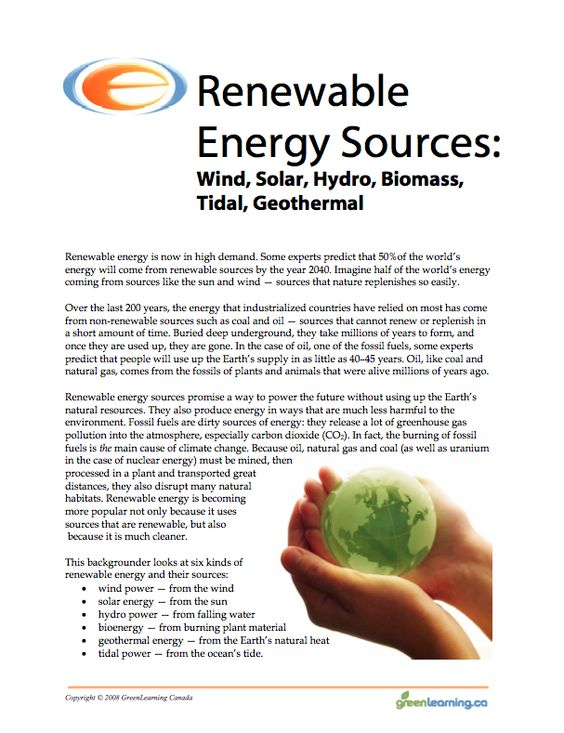 Renewable Energy Sources Education Backgrounder And