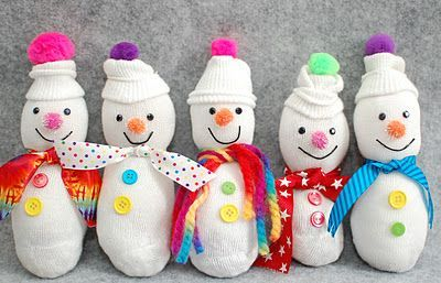 Sock snowmen - very cute kids craft for winter