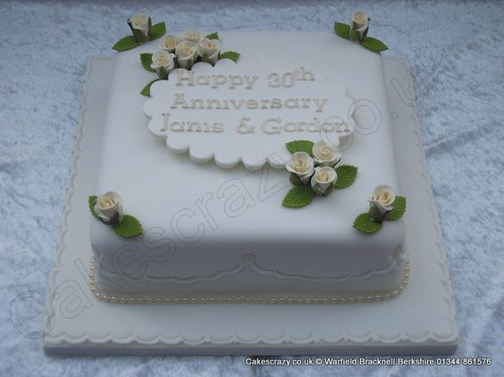 Square 30th Wedding Anniversary Cake With Simple Name Plaque Sugar Roses And Beaded Ribbon