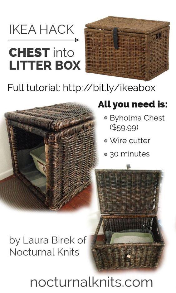 Ikea Cat Litter Box Hack - turn a cheap chest into custom cat box furniture in under an hour. Cool!