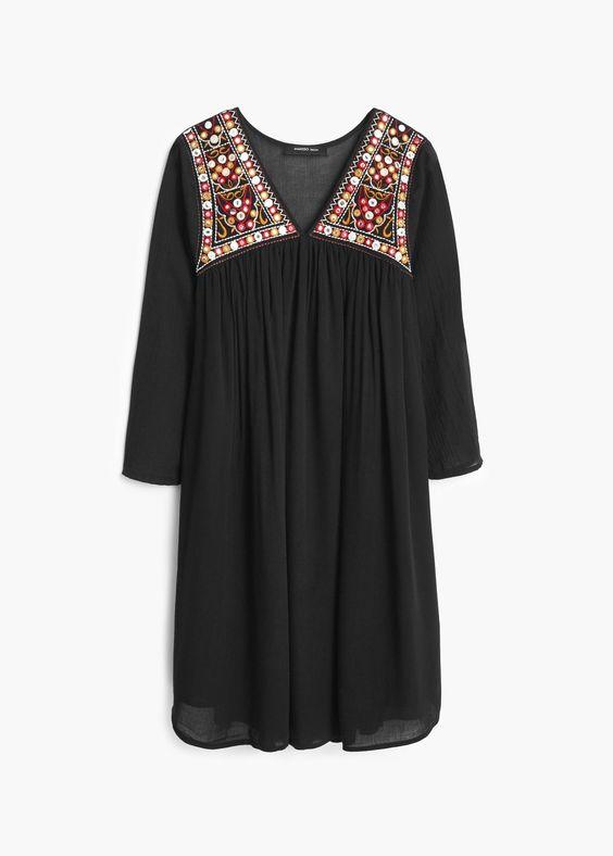 Kleid mit besticktem Einsatz