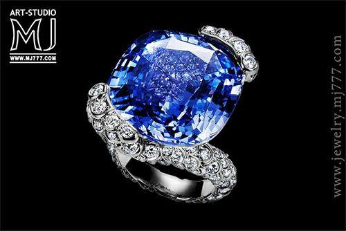 Osmium ring with diamonds and sapphire