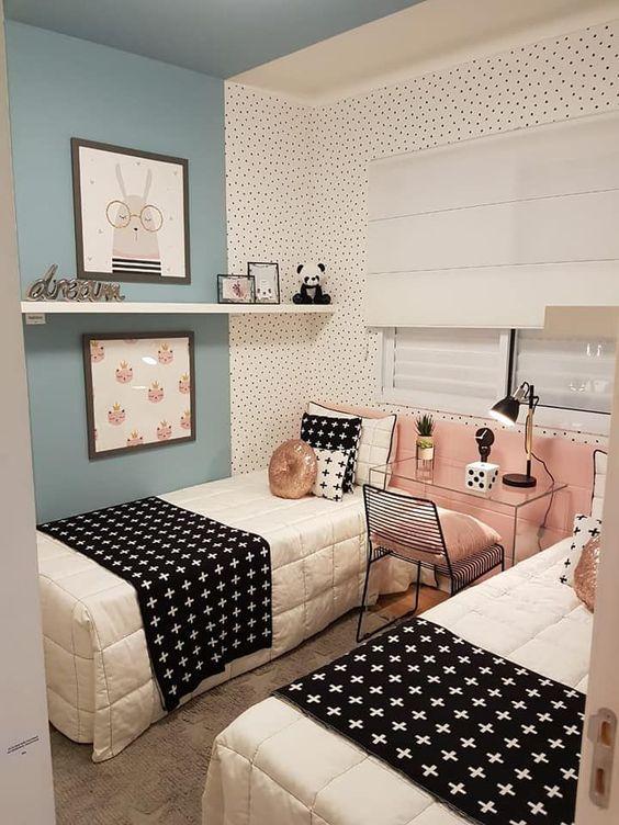 Como Acomodar Un Cuarto Con Dos Camas Ideas De Muebles De Dormitorio Habitacion Doble Para Ninas Remodelacion De Dormitorio