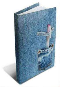capa-caderno em tecido - jeans: