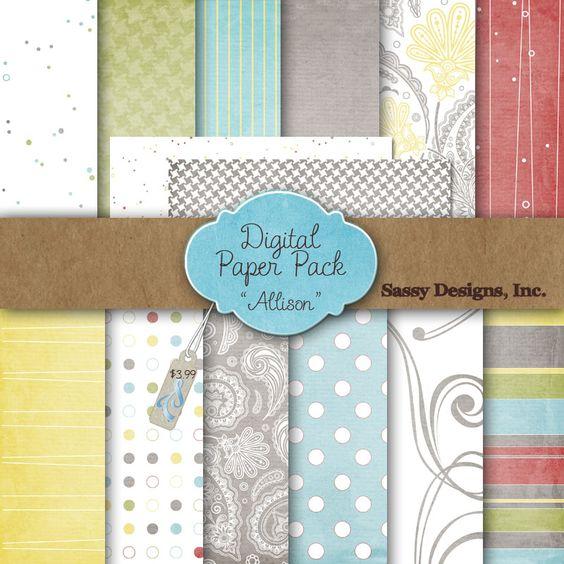 Sassy Designs  Allison Digital Paper Pack