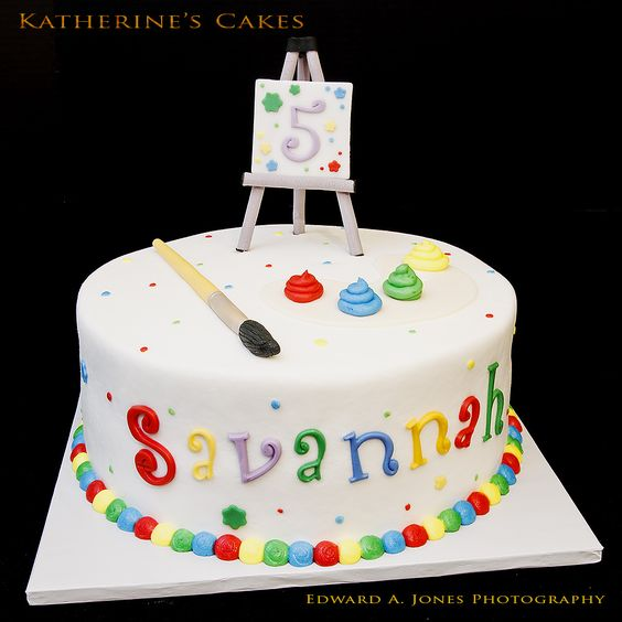 Birthday 130 -- Artsy Easel Birthday Cake for Savannah, who is Five Years Old!