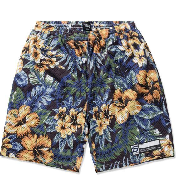 Black Island Flower Mesh Short