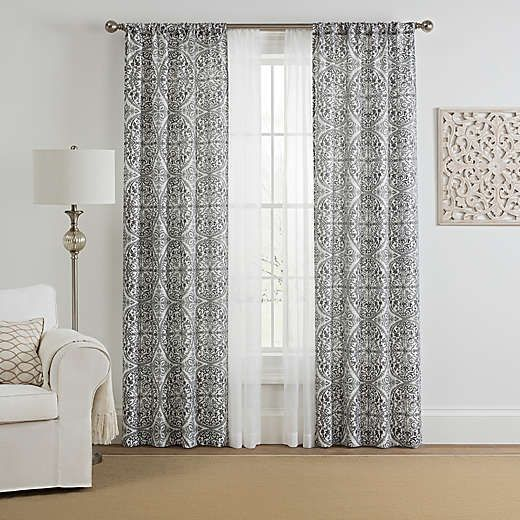 Morris Medallion 4 Pack Rod Pocket Window Curtain Panels With