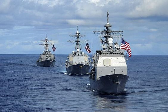 PACIFIC OCEAN (Aug. 14, 2007) - USS Antietam (CG 54) (right), USS Preble (DDG 88) (center) and USS OKane (DDG 77), transit in formation during a joint photo exercise (PHOTOEX) concluding Valiant Shield 2007. The PHOTOEX featured 15 ships and 17 aircraft from Air Force, Navy, and Marine Corps including a B-52 bomber. The John C. Stennis, Kitty Hawk and Nimitz Carrier Strike Groups were participating in Valiant Shield 2007, the largest joint exercise in recent history.