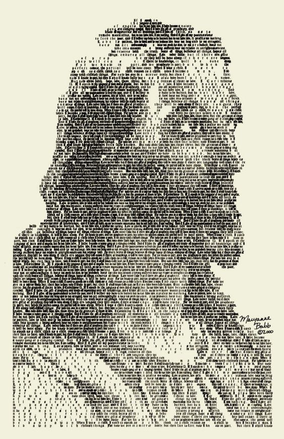Image of Jesus made out of Bible Verses, I Cor 13 BABB | Grandioso ...