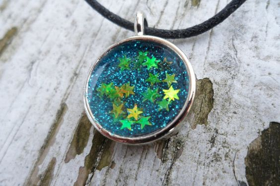 SALE - Everlasting Summer Nights - Resin Glitter Necklace