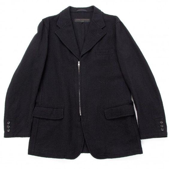 コムデギャルソンオムCOMME des GARCONS HOMME ウールジップデザインジャケット 濃紺M