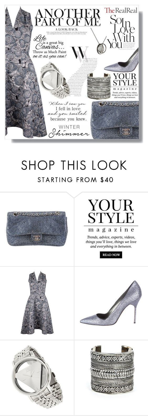 """""""Holiday Sparkle With The RealReal: Contest Entry"""" by pankh ❤ liked on Polyvore featuring Chanel, Pussycat, Closet, Manolo Blahnik, Balenciaga, Miss Selfridge, Sole Society and Werkstatt:München"""