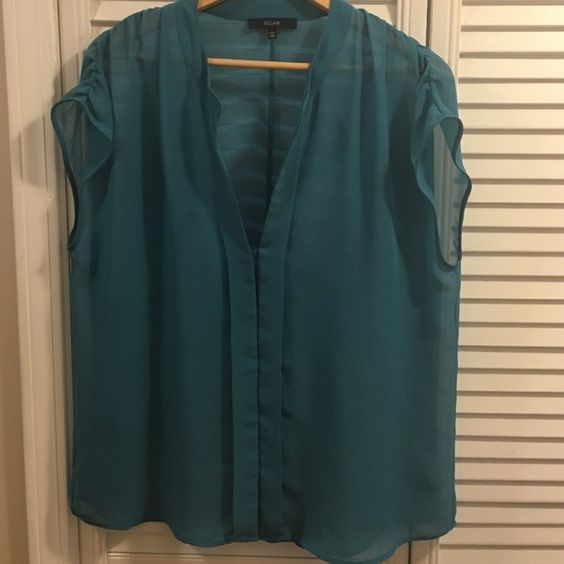 Beautiful Teal sheer top From Nordstrom's: ECLAIR teal sheer top. Size large. Buttoned front with mandarin type collar. Great for Spring! ECLAIR Tops Blouses